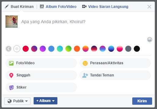 status facebook dengan background 1