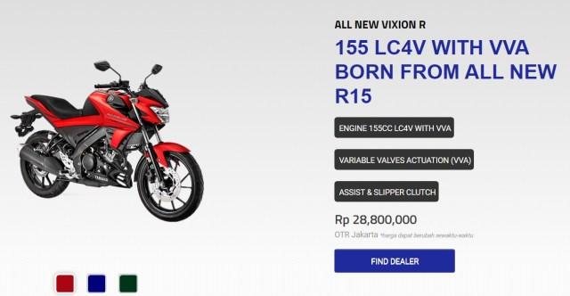 pilihan warna vixion-R 2 Matte Red Black