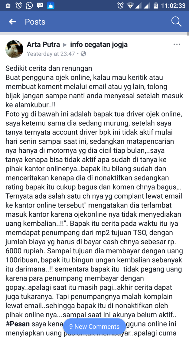 driver ojek online yang akunnya dibekukan