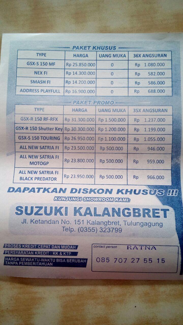 Harga Dan Kredit Motor Suzuki Tulungagung Bulan Ini Gsx R150 Rp