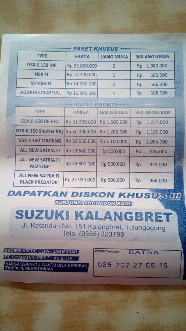 Harga motor Suzuki Tulungagung